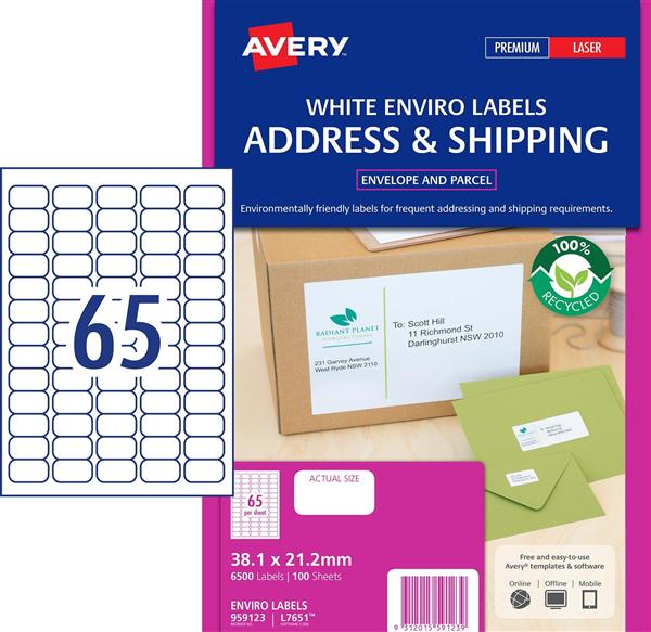 avery l7651ev enviro laser labels a4 65up bx100