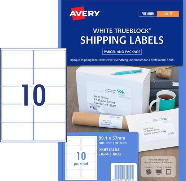 avery labels j8173 inkjet 99 1 57mm 10up pk50