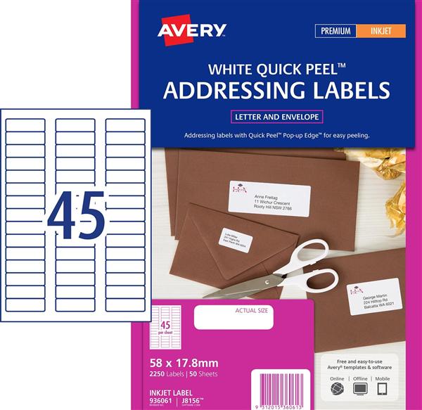 Avery J8156 Inkjet Address Labels 58*17 8mm Pk50