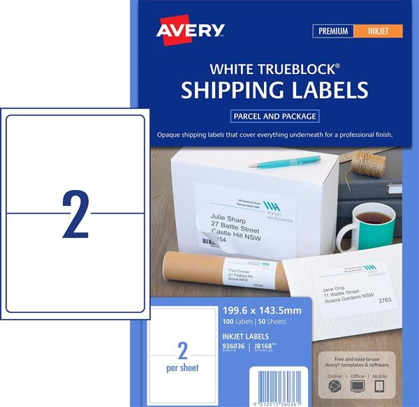 avery j8168 inkjet shipping labels 199 6 143 5mm